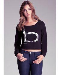 Bebe - Black Long Sleeve Crop Sweater - Lyst