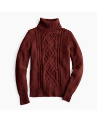 J.Crew - Red Cambridge Cable Turtleneck Sweater - Lyst