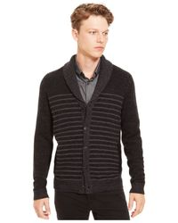 Kenneth Cole Reaction | Black Shawl-collar Striped Cardigan for Men | Lyst