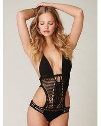 Free People - Black Crochet Monokini - Lyst