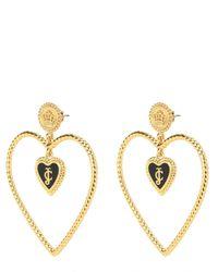 Juicy Couture | Metallic Enamel Hearts Open Heart Hoop Earring | Lyst