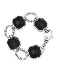 Lagos - Black Color Rocks Faceted Onyx Bracelet - Lyst