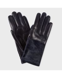 Paul Smith | Blue Women's Navy Leather Calf Hair Panel Gloves | Lyst