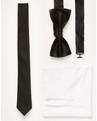 ASOS Black Tie Bow Tie And Pocket Square Pack Save 20% for men