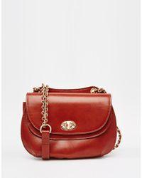 Mango - Red Chain Detail Saddle Bag - Lyst