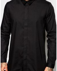 ASOS - Black Longline Shirt With Faux Suede Collar for Men - Lyst