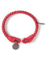 Bottega Veneta | Red Intrecciato Bracelet for Men | Lyst