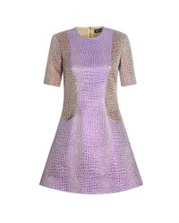 House of Holland - Purple Mix Crocodile Fleur Dress - Lyst