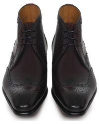 Magnanni Shoes Red Brogue Leather Boots for men