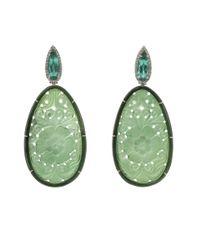 Silvia Furmanovich Carved Green Tourmaline Earrings