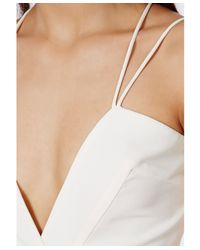 Missguided Strappy Cross Front Wide Leg Jumpsuit White