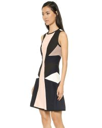 Jonathan Simkhai Black Pleated Jersey Flare Dress - Pink Combo