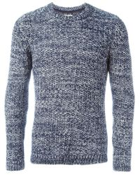 Nudie Jeans - Blue Marled Crew Neck Sweater for Men - Lyst