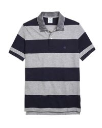 Brooks Brothers | Blue Slim Fit Engineered Rugby Stripe Polo Shirt for Men | Lyst