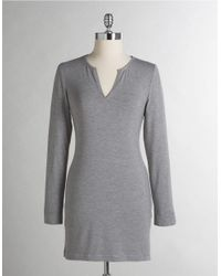 Calvin Klein - Gray Essentials Long Sleeve Nightdress - Lyst