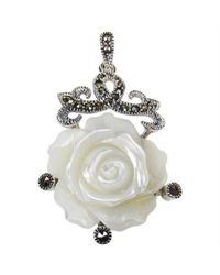 Aeravida | Metallic Vintage Style Carved Rose Mop Marcasite .925 Silver Pendant | Lyst