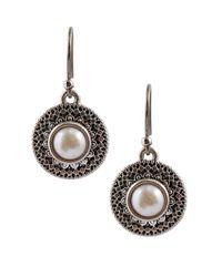 Lucky Brand | Metallic Freshwater Pearl Medallion Earrings | Lyst