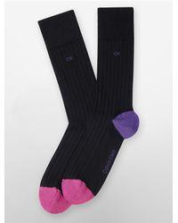 Calvin Klein | Black Underwear Colorblock Cotton Blend Rib Knit Socks | Lyst