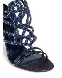 Rene Caovilla - Blue 'marlene' Crystal Spiral Venetian Sandals - Lyst