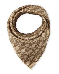 Dior - Brown Silk Logo Scarf - Lyst