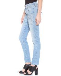 FRAME | Blue Le Garcon Patch Pocket Jeans | Lyst