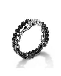John Hardy | Black Stainless Steel Double Wrap Link Bracelet for Men | Lyst