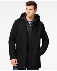 Guess Black Toggle Jacket With Attached Hood for men