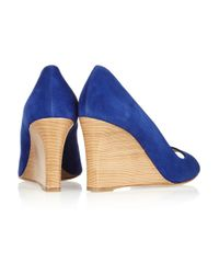 Tod's - Blue Suede Wedge Pumps - Lyst