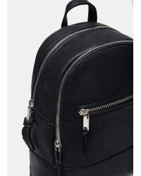 Mango - Black Zipped Backpack - Lyst