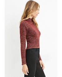 Forever 21 - Purple Contemporary Metallic Mock Neck Sweater - Lyst