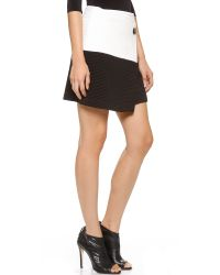 Alice + Olivia Alice Olivia Lennon Crossover Angle Skirt Whiteblack