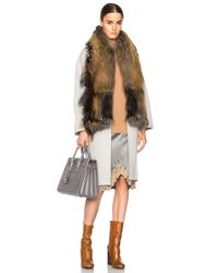 Sally Lapointe - Brown Double Splittable Wool Cocoon Coat With Fur Collar - Lyst
