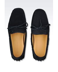 Emporio Armani - Blue Suede Driving Shoe for Men - Lyst