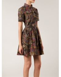 Valentino - Green Butterfly Print Shirt Dress - Lyst