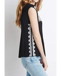 Forever 21 - Black Embroidered Peasant Top You've Been Added To The Waitlist - Lyst