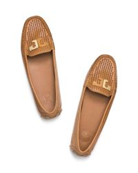 Tory Burch | Brown Culver Perforated Driver | Lyst