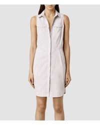 AllSaints - Natural Aimee Dress - Lyst