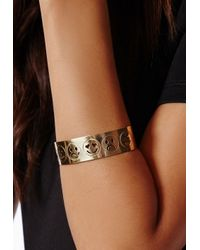 Missguided | Metallic Amera Engraved Emoji Cuff Gold | Lyst