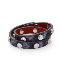 Tory Burch Blue Logo Stud Embossed Leather Double-wrap Bracelet/silvertone
