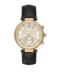 Michael Kors | Metallic Sawyer Goldtone Stainless Steel Black Leather Strap Chronograph | Lyst