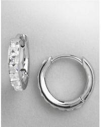 Nadri | Metallic Small Crystal Hoop Earrings | Lyst