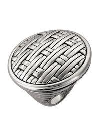 John Hardy Metallic Silver Basket-Weave Ring