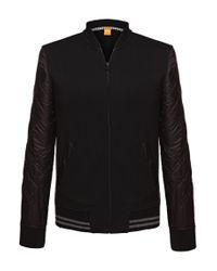BOSS Orange | Black Sweatshirt Jacket 'zphen' In Fabric Blend for Men | Lyst