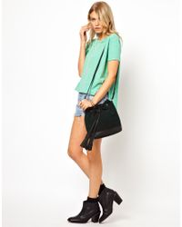 ASOS - Green Leather Duffle Bag with Chunky Tassels - Lyst