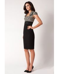 Black Halo Black Houndstooth Gabardine Sheath Dress