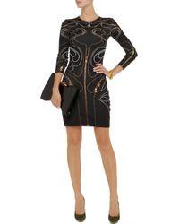 McQ Black Zipper-Print Stretch-Cotton Dress
