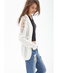 Forever 21 - Natural Open-front Crochet Cardigan - Lyst