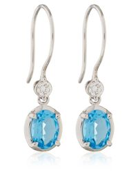 Dinny Hall | Amba White Gold Drop Earrings With Swiss Blue Topaz And Diamonds | Lyst