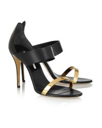Oscar de la Renta Black River Leather Sandals