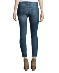 Current/Elliott - Blue The Stiletto Distressed Skinny Jeans - Lyst